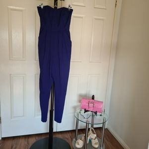 Forever New 6 Blue Bodycon Maxi Jumpsuit | Navy Blue Strapless Tube Romper